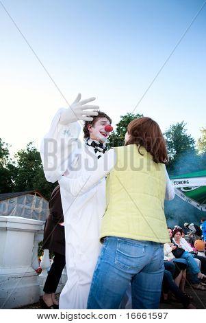 ARKHANGELSKOE - JUNE 6:  Man With Red Nose. 7th International Jazz Festival