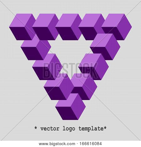 Penrose triangle. Vector logo template. Impossible triangle shape.