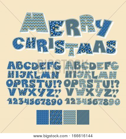 Christmas patchwork style abc font. Alphabet symbol set for xmas lettering. Cute peasant text letters with traditional patterns in blue color