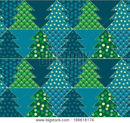 christmas tree blue color abstract background in patchwork style. seamless pattern vector illustration with fir tree. repeatable peasant style patch fabric motif