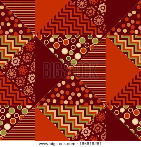 red xmas abstract background in patchwork style. seamless pattern vector illustration. repeatable peasant style patch fabric motif