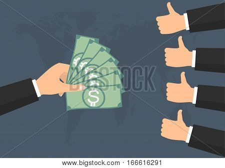 Businessman thump up like vote for banknote money paying on world background. Vector illustration business concept design.