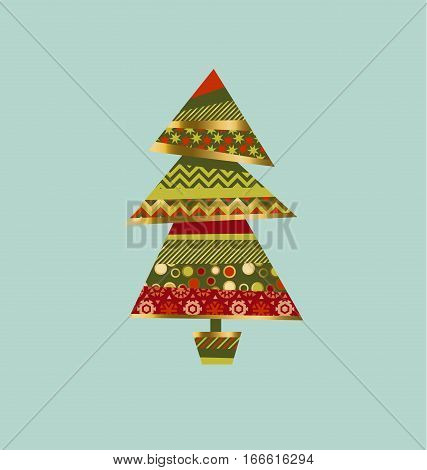 Christmas tree in patchwork style. Fir tree pattern vector illustration. Peasant style patch fabric mosaic for xmas greetings