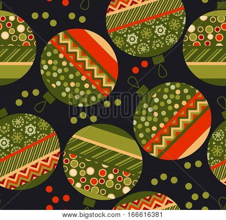 peasant ornament patchwork xmas bubbles seamless pattern. cosy Christmas bulbs motif with assorted fabrics. red and green abstract Christmas vector illustration.