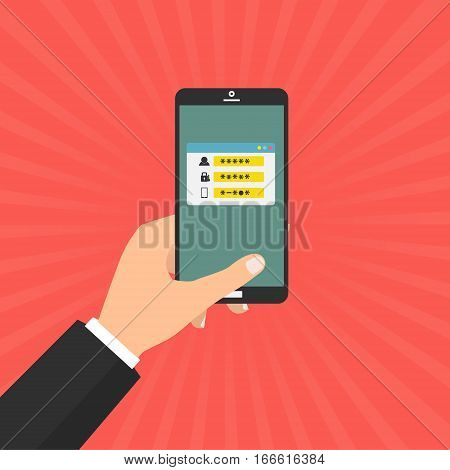 Human hand hold smart phone with sms code for log on the system with password protected. Vector illustration computer security with two factor authentication concept.
