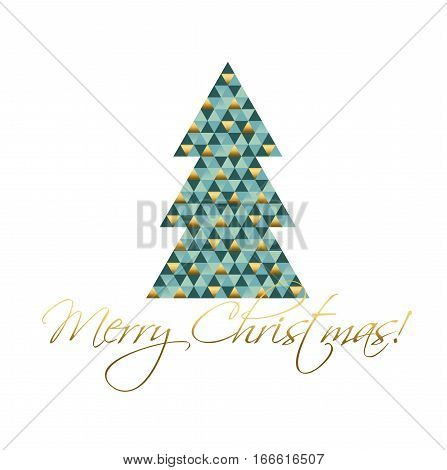 abstract geometry concept christmas tree vector illustration. green and gold luxury xmas tree image dor cards and poster