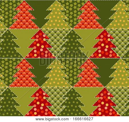 christmas tree green color abstract background in patchwork style. seamless pattern vector illustration with fir tree. repeatable peasant style patch fabric motif