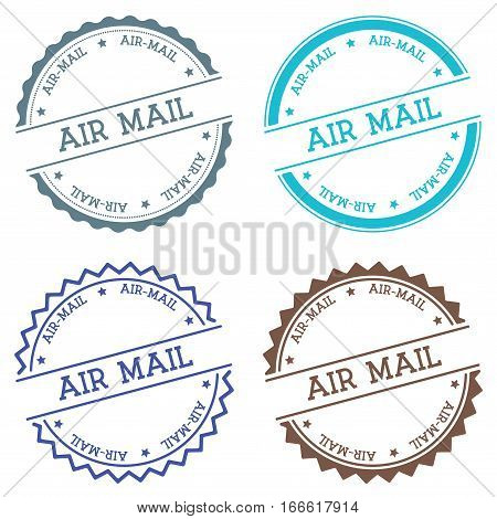 Air-mail Badge Isolated On White Background. Flat Style Round Label With Text. Circular Emblem Vecto