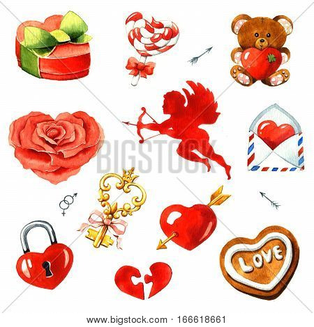 Valentine's Day. Watercolor clipart on a white background
