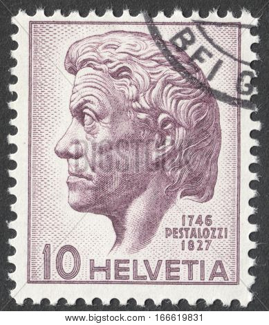 MOSCOW RUSSIA - CIRCA DECEMBER 2016: a post stamp printed in SWITZERLAND dedicated to the 200th Anniversary of the Birth of Johann Heinrich Pestalozzi circa 1946