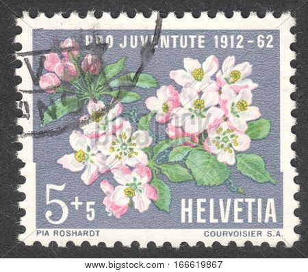 MOSCOW RUSSIA - CIRCA DECEMBER 2016: a post stamp printed in SWITZERLAND shows Apple Blossom (Malus sylvestris var. domestica-Rosaceae) the series