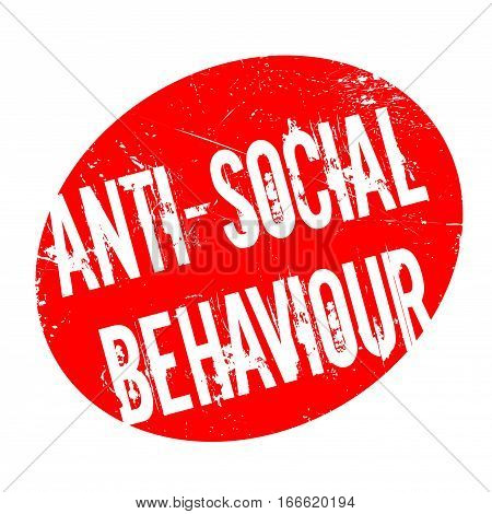 Anti-Social Behaviour rubber stamp. Grunge design with dust scratches. Effects can be easily removed for a clean, crisp look. Color is easily changed.