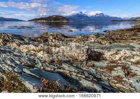Rocky landscapes of Beagle channel at Terra Del Fuego National Park Ushuaia