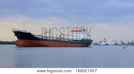 Barge in the seaport on the Black Sea