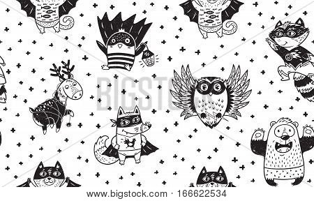 Superhero animal seamless pattern. Owl, deer, fox, cat, penguin, raccoon and bear in superheroes costume. Awesome childish background in cartoon style. Black and white vector illustration.