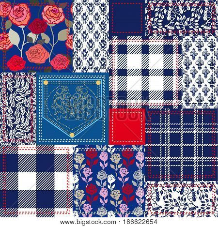 Set of seamless vector patterns. Checkered fabrics, vintage roses, wild flowers, damask motifs. Retro textile collection.