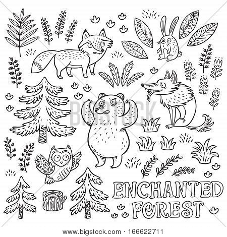 Enchanted forest. Vector black and white hand-drawn illustration with crazy animals. Ink set with cartoon fox, bear, wolf and owl