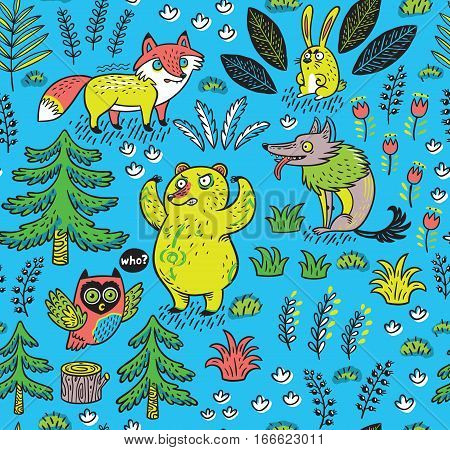 Enchanted forest. Vector colorful seamless pattern with crazy animals. Funny cartoon fox, bear, wolf and owl on blue background