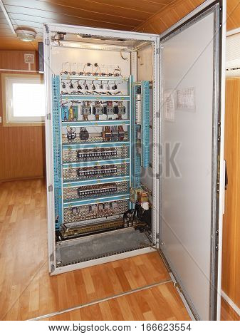 Control cabinet with automatic systems. Automation, industrial.