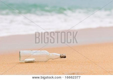 A bottle with a message inside