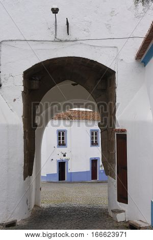 Door to the castle of Redondo Alentejo region Portugal