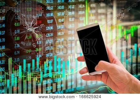 Hand Hold Smart Phone On Stock Market Indicator And Financial Data Background For Your Design. Doubl