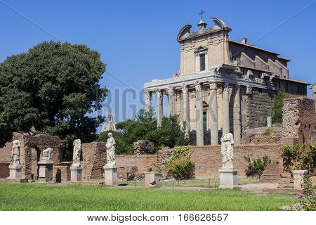House of the Vestal ruins and Temple of Antoninus and Faustina in Roman Forum