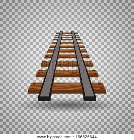 Railway tracks or rail road line on transparent background. Part of straight rail element illustration