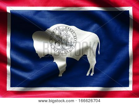 Flags of the U.S. states: Waving Fabric Flag of Wyoming
