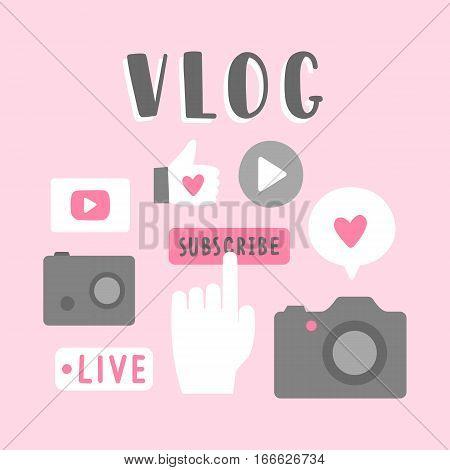 Vlog icons illustration. Vector hand drawn illustration