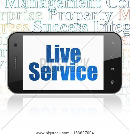 Finance concept: Smartphone with  blue text Live Service on display,  Tag Cloud background, 3D rendering