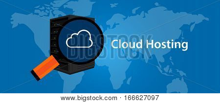 cloud hosting virtualization server web-hosting services infrasctructure technology vector