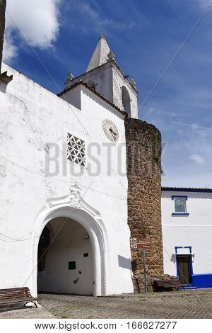 Door to the castle and church in the village of Redondo Alentejo region Portugal