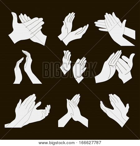Applause set clapping hands icon set - vector