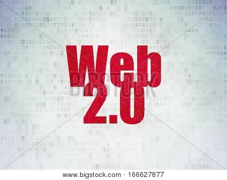 Web design concept: Painted red word Web 2.0 on Digital Data Paper background