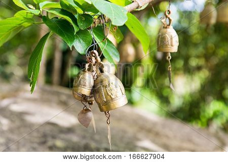 Tradition asian bells in Buddhism temple in Phuket islandThailand. Famous Big Buddha wish bells