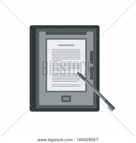 Tablet computer books for reading. Modern device with cloud technology. Mobile education concept. Electronic mobile book with stylus. Flat style vector isolated icon illustration.