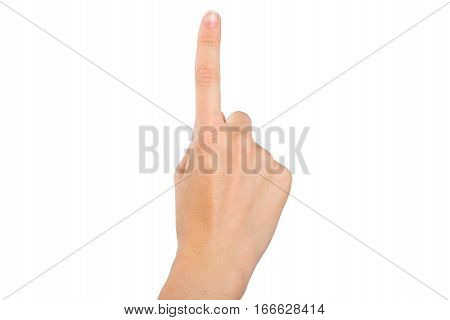 Woman's hand with the index finger (one)