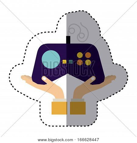 silhouette monochrome with games remote control vector illustration