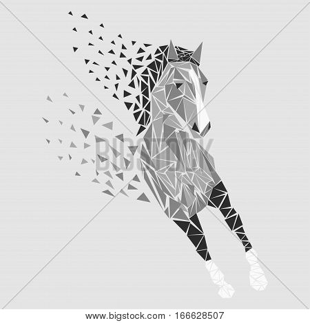 Horse particles icon design. Galloping silver - vector illustration