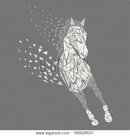 Horse particles icon design. Galloping white - vector illustration