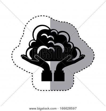 sticker silhouette of hands holding a cumulus cloud vector illustration