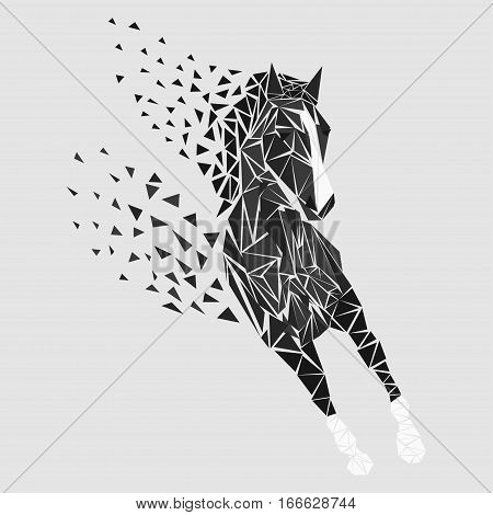 Horse particles icon design. Galloping black - vector illustration
