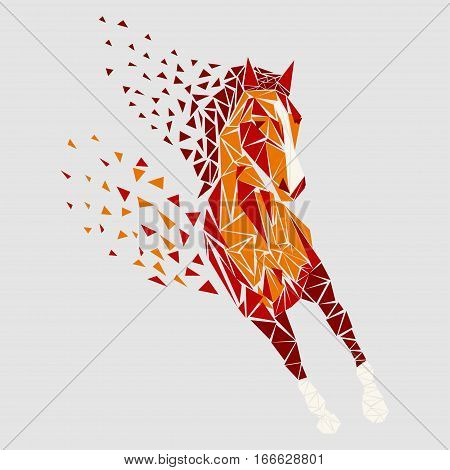 Horse particles icon design. Galloping red - vector illustration