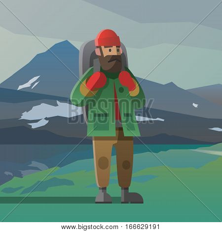 Vector illustration on the theme of hiking, backpacking, climbing, traveling, trekking, walking. Old man with big beard and backpack. Winter adventure in the mountains, outdoor recreation, vacation.