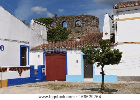 Castle walls and houses in the village of Redondo Alentejo region Portugal