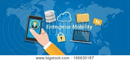 enterprise mobility connected everywhere company working anywhere mobile vector