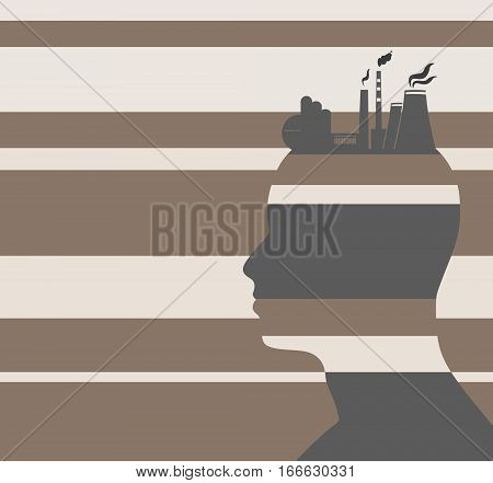 Head with factory for brain. Heavy industry and atom energy. Striped backdrop. Vector illustration