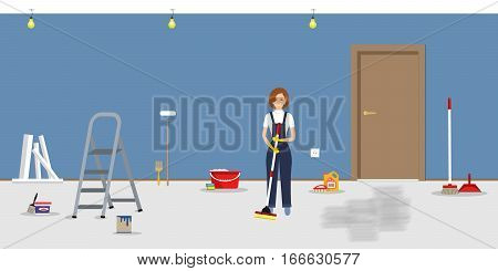 Room repairing at home. Cleaning in the apartment after walls' painting. Cleaning woman, standing with a mop, in the blue room. Vector illustration