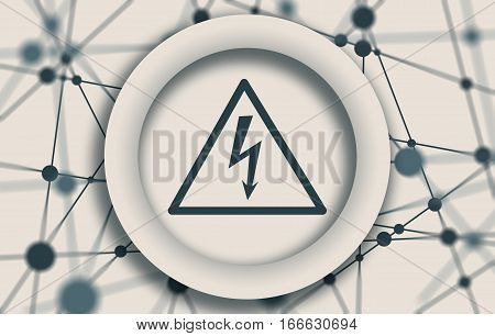 High voltage danger sign in circle. Molecule And Communication Background. Brochure or report design template. Connected lines with dots.